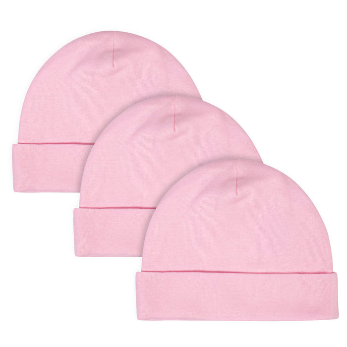 Gerber® 3-Pack Craft Pink Caps-Gerber Childrenswear Wholesale