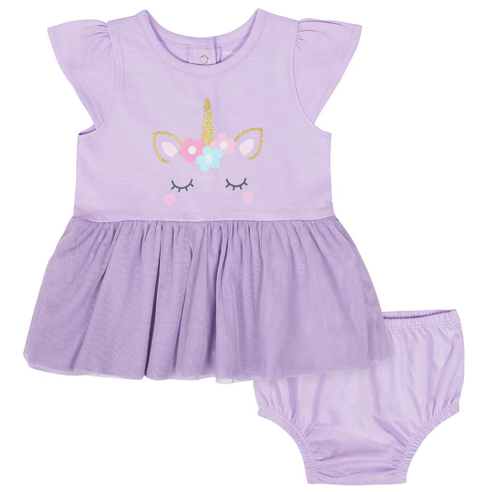 2-Piece Baby Girls Unicorn Dress & Diaper Cover Set-Gerber Childrenswear Wholesale