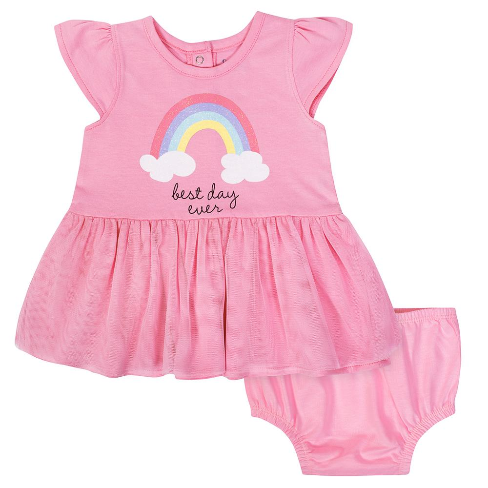 2-Piece Baby Girls Rainbow Cap Sleeve Dress with Diaper Cover-Gerber Childrenswear Wholesale