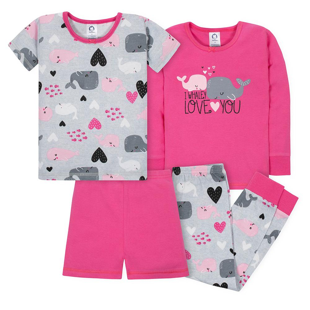 4-Piece Girls Whales Snug Fit Pajama Set-Gerber Childrenswear Wholesale