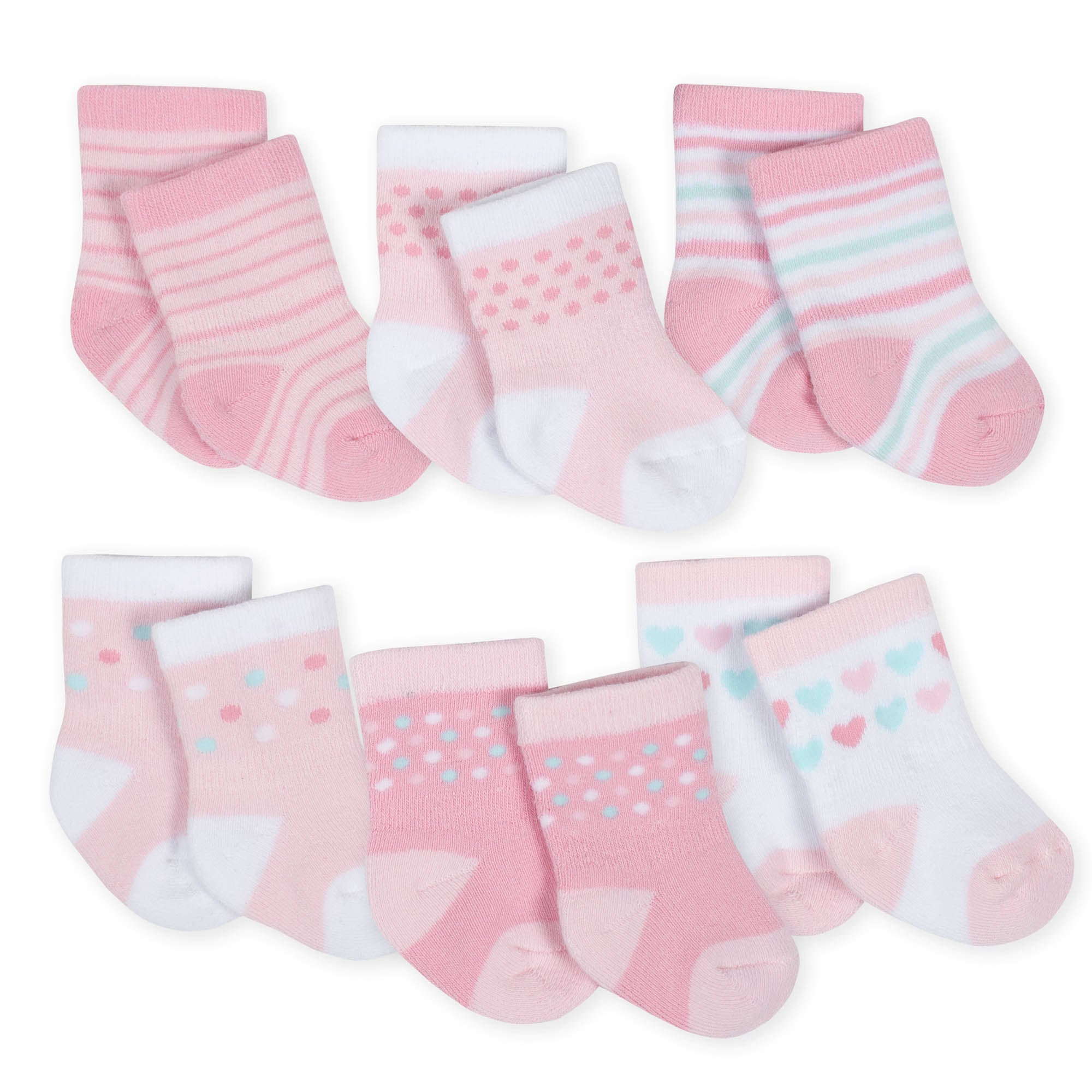 6-Pack Girls Princess Castle Wiggle Proof Terry Crew Socks-Gerber Childrenswear Wholesale