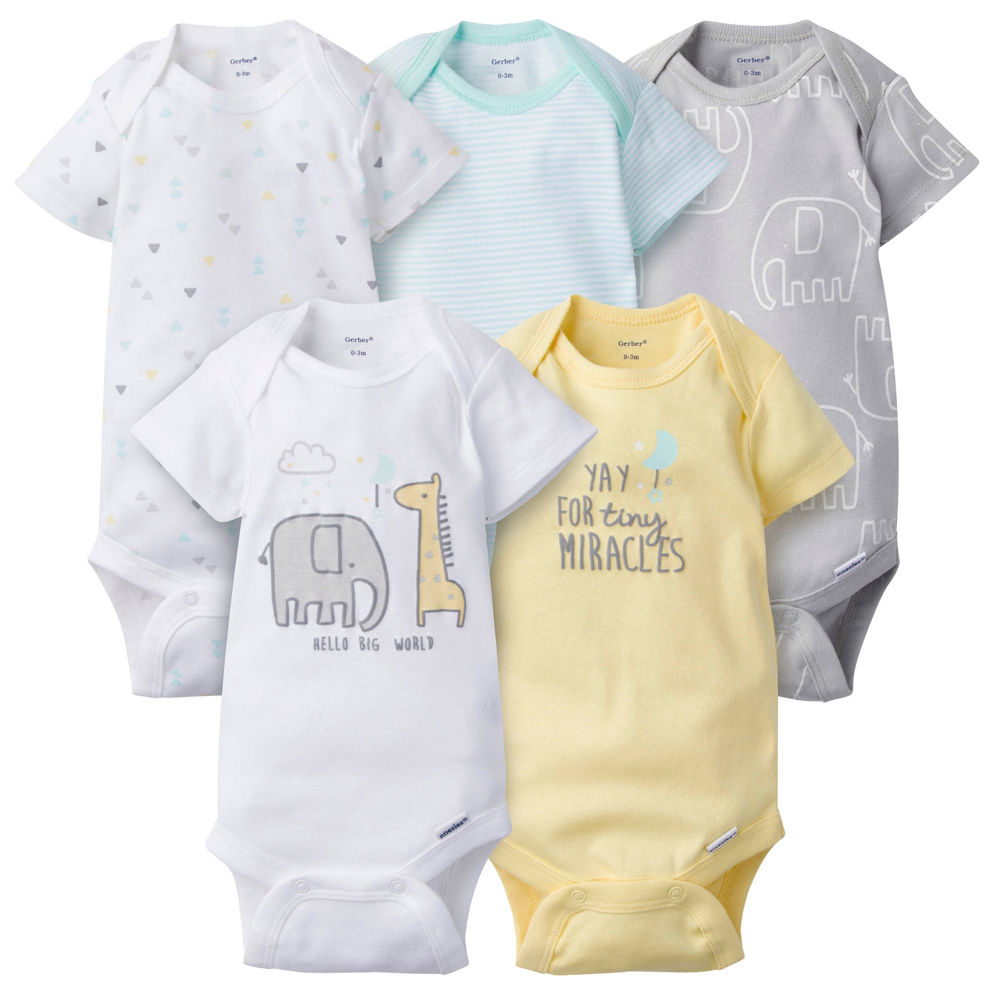 5-Pack Neutral Elephant Onesies® Brand Short Sleeve Bodysuits-Gerber Childrenswear Wholesale