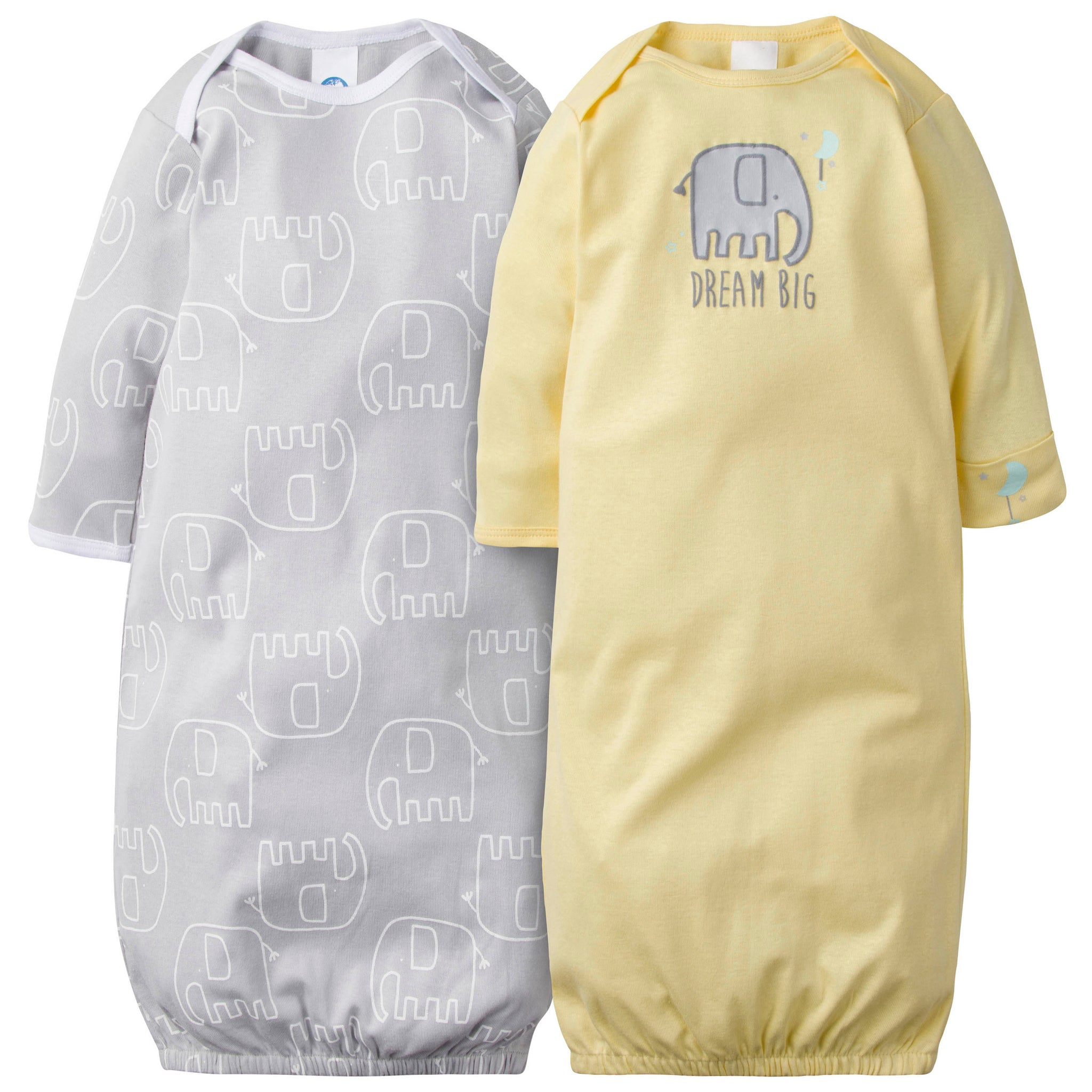 2-Pack Neutral Elephant Gowns-Gerber Childrenswear Wholesale