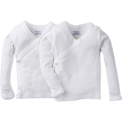 2-Pack White Side-Snap Long Sleeve Shirt with Mitten Cuffs-Gerber Childrenswear Wholesale