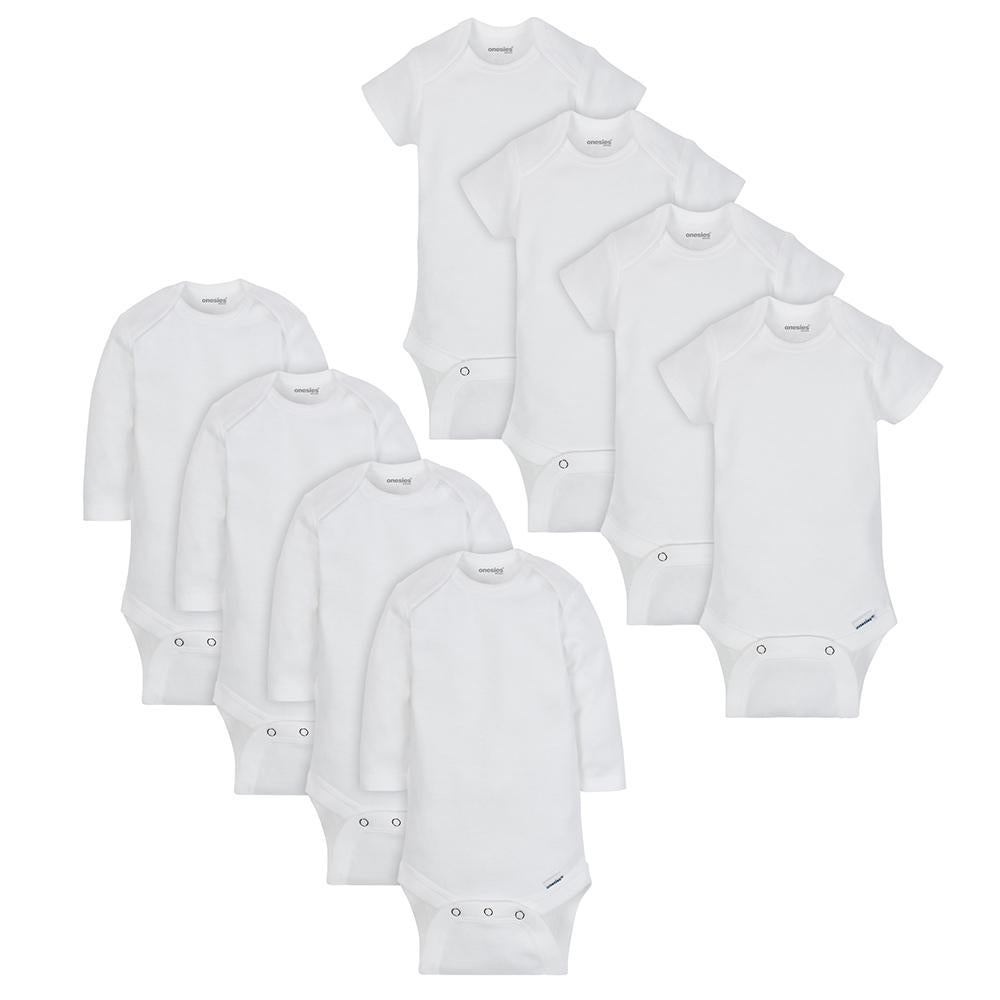 8-Pack Onesies® Brand Baby Boy or Girl White Long and Short Sleeve Bodysuits-Gerber Childrenswear Wholesale