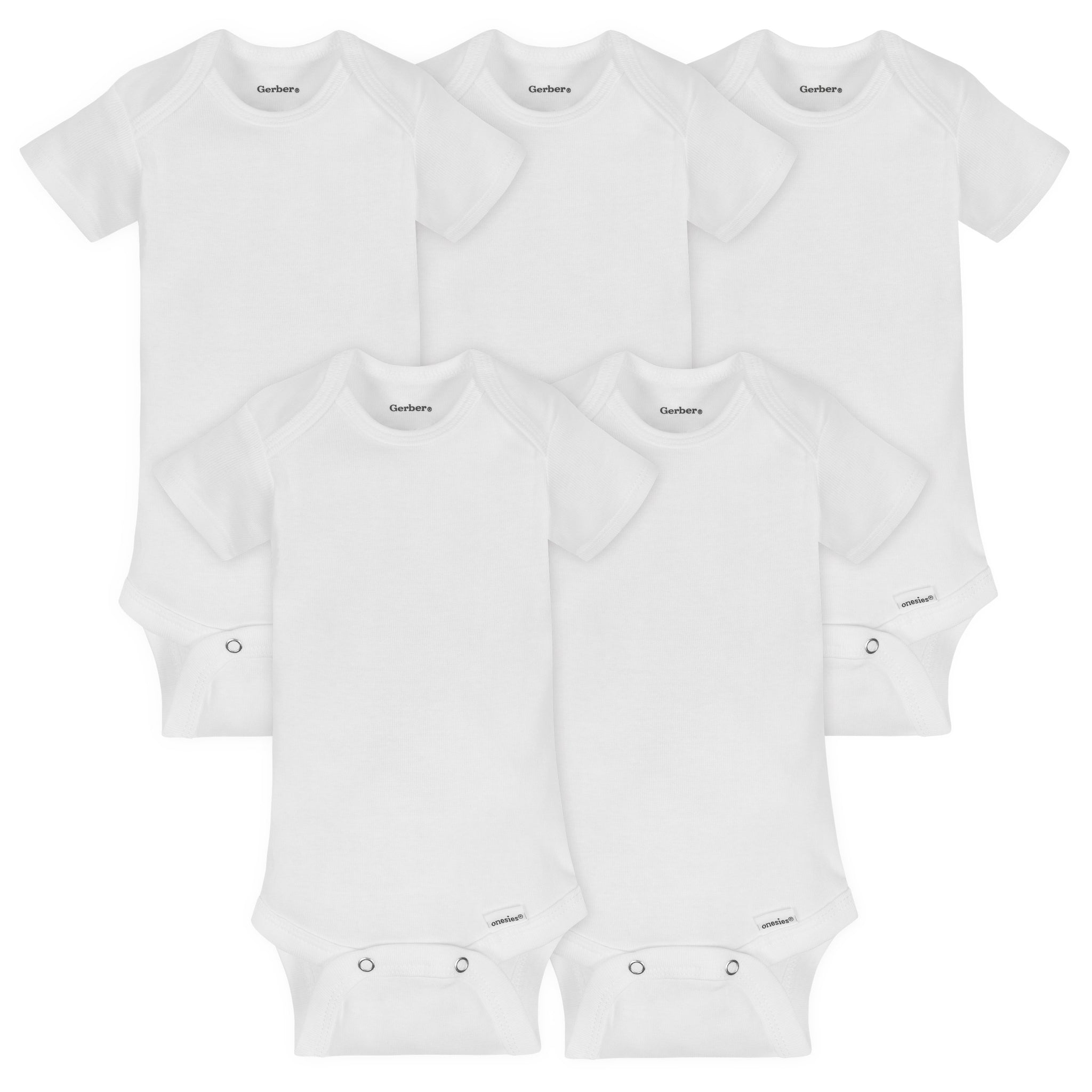 5-Pack White Organic Short-Sleeve Onesies® Bodysuits-Gerber Childrenswear Wholesale