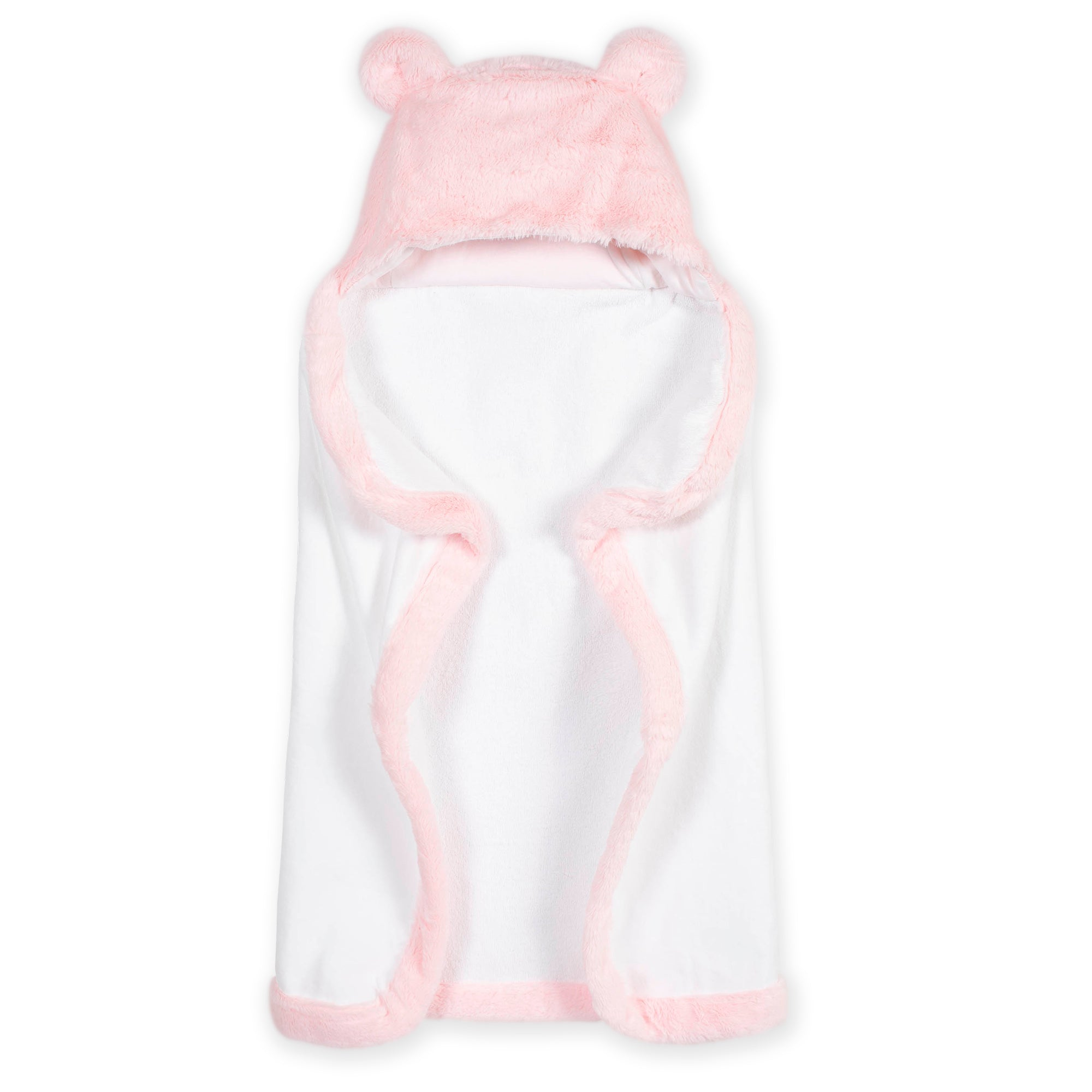 Baby Girls Pink Bear Cuddle Plush Hooded Towel-Gerber Childrenswear Wholesale