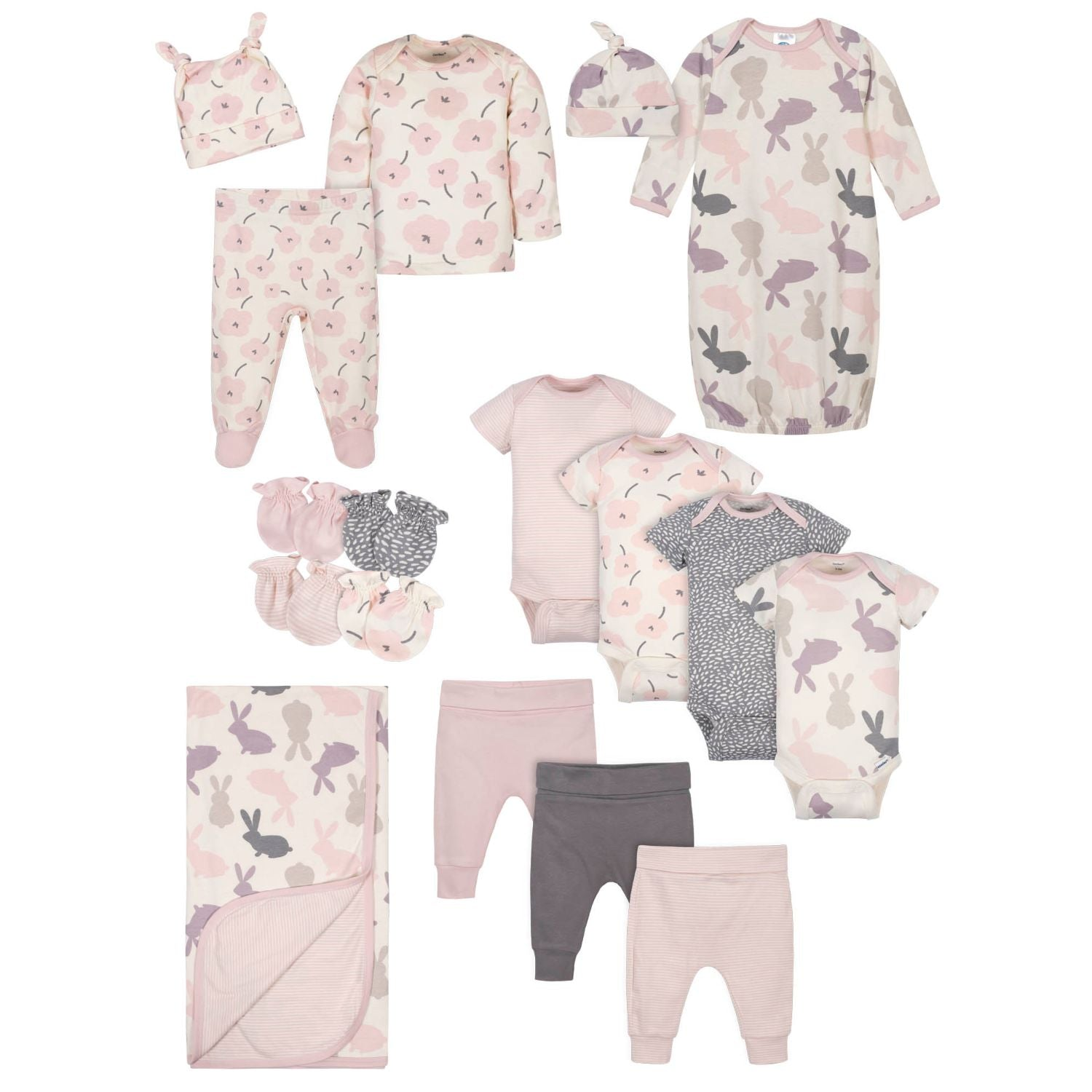 17-Piece Baby Girls Bunny Gift Set-Gerber Childrenswear Wholesale