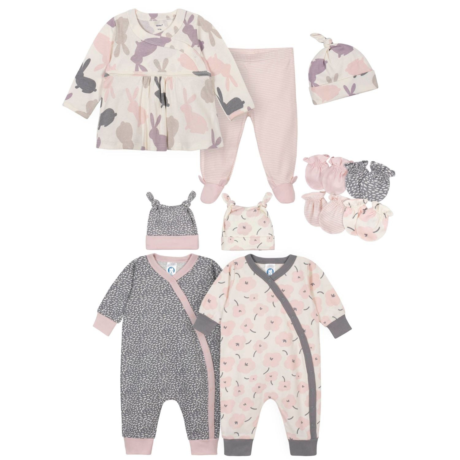 11-Piece Baby Girls Bunny Gift Set-Gerber Childrenswear Wholesale