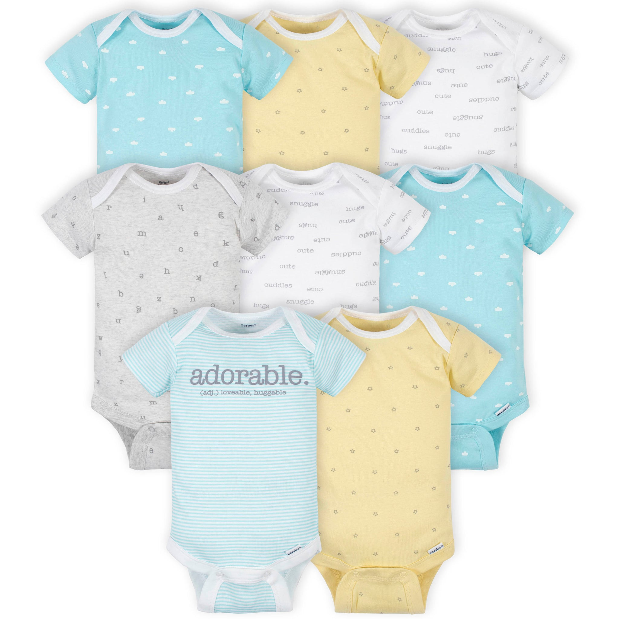 8-Pack Baby Neutral Words Short Sleeve Onesies® Bodysuits-Gerber Childrenswear Wholesale