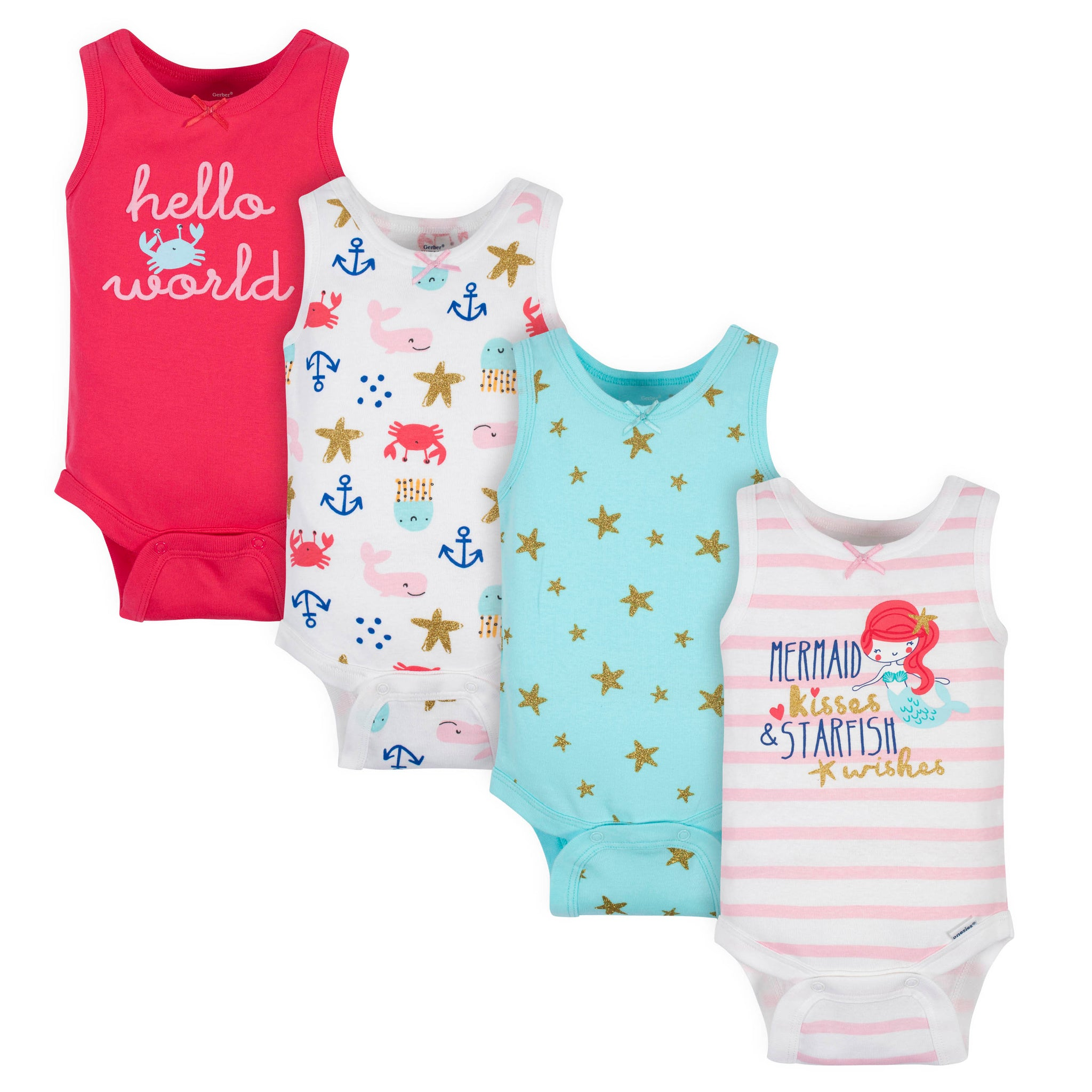 4-Pack Baby Girls Sea Creatures Onesies® Bodysuits-Gerber Childrenswear Wholesale