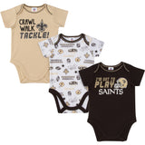 3-Pack New Orleans Saints Short Sleeve Bodysuits-Gerber Childrenswear Wholesale