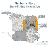 4-Piece Boys Camping Cotton Pajamas-Gerber Childrenswear Wholesale