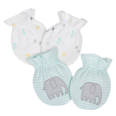 2-Pack Baby Neutral Elephant Mittens-Gerber Childrenswear Wholesale