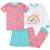 4-Piece Girls Rainbow Cotton Pajamas-Gerber Childrenswear Wholesale