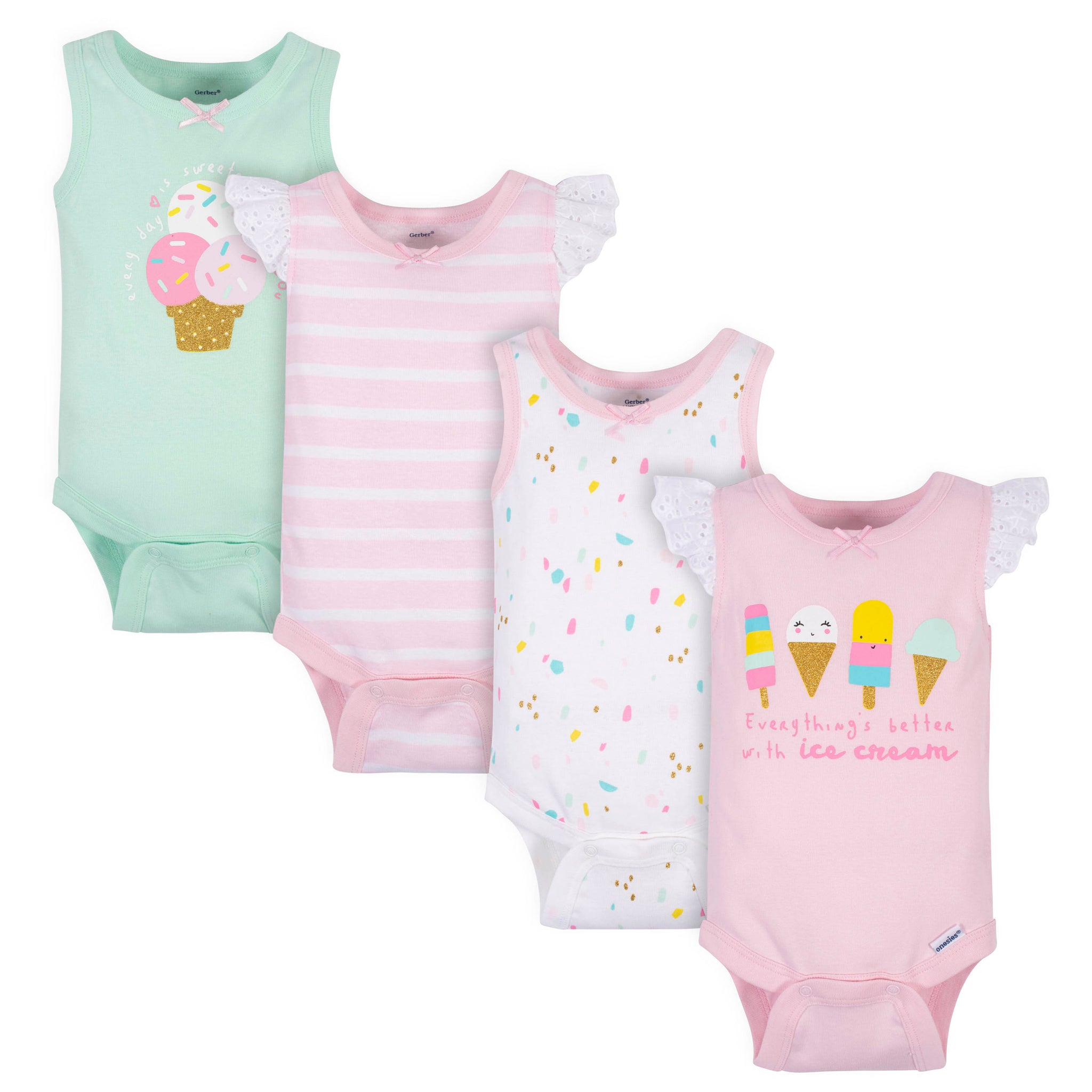 4-Pack Baby Girls Ice Cream Onesies® Bodysuits-Gerber Childrenswear Wholesale