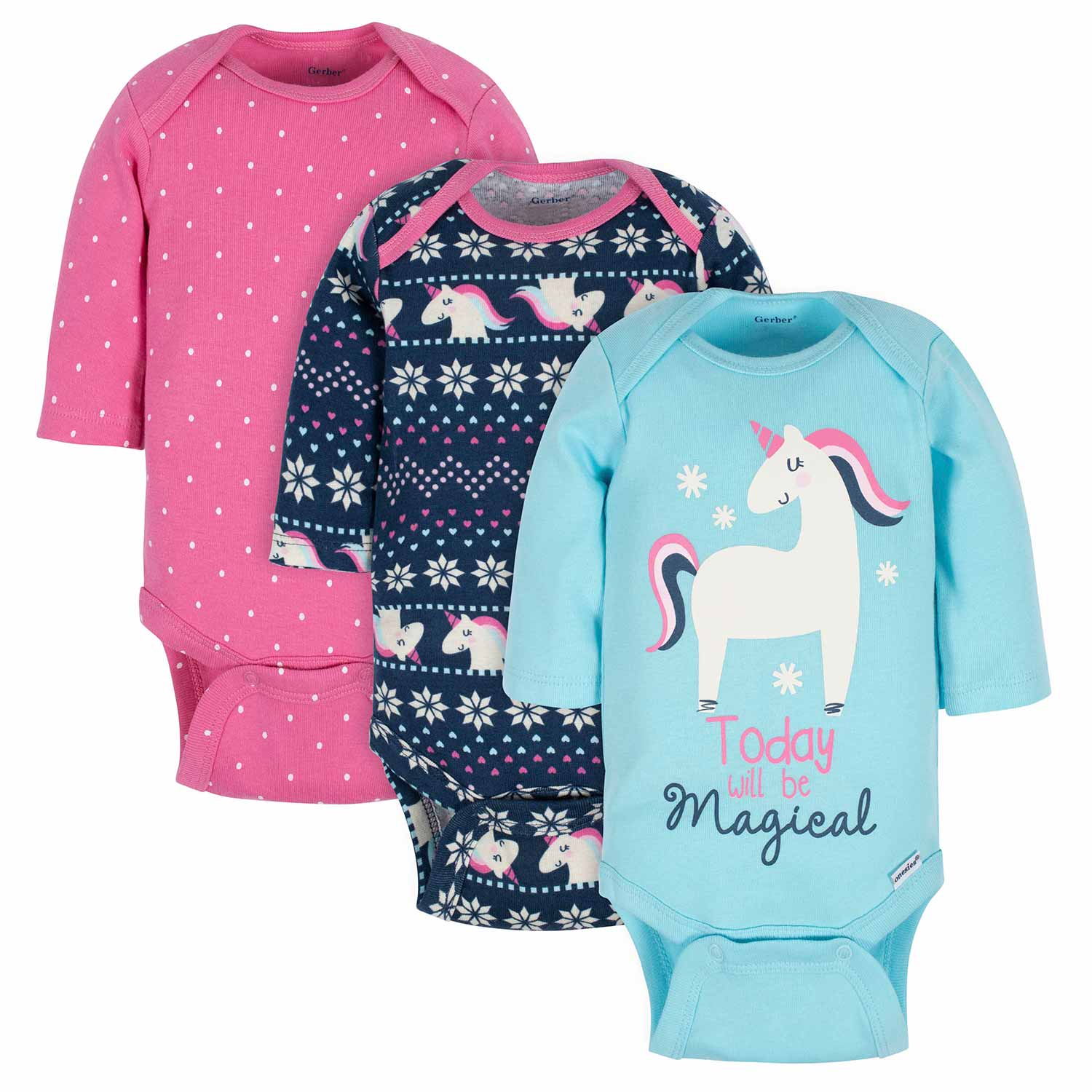 3-Pack Baby Girls Unicorn Long Sleeve Onesies® Bodysuits-Gerber Childrenswear Wholesale