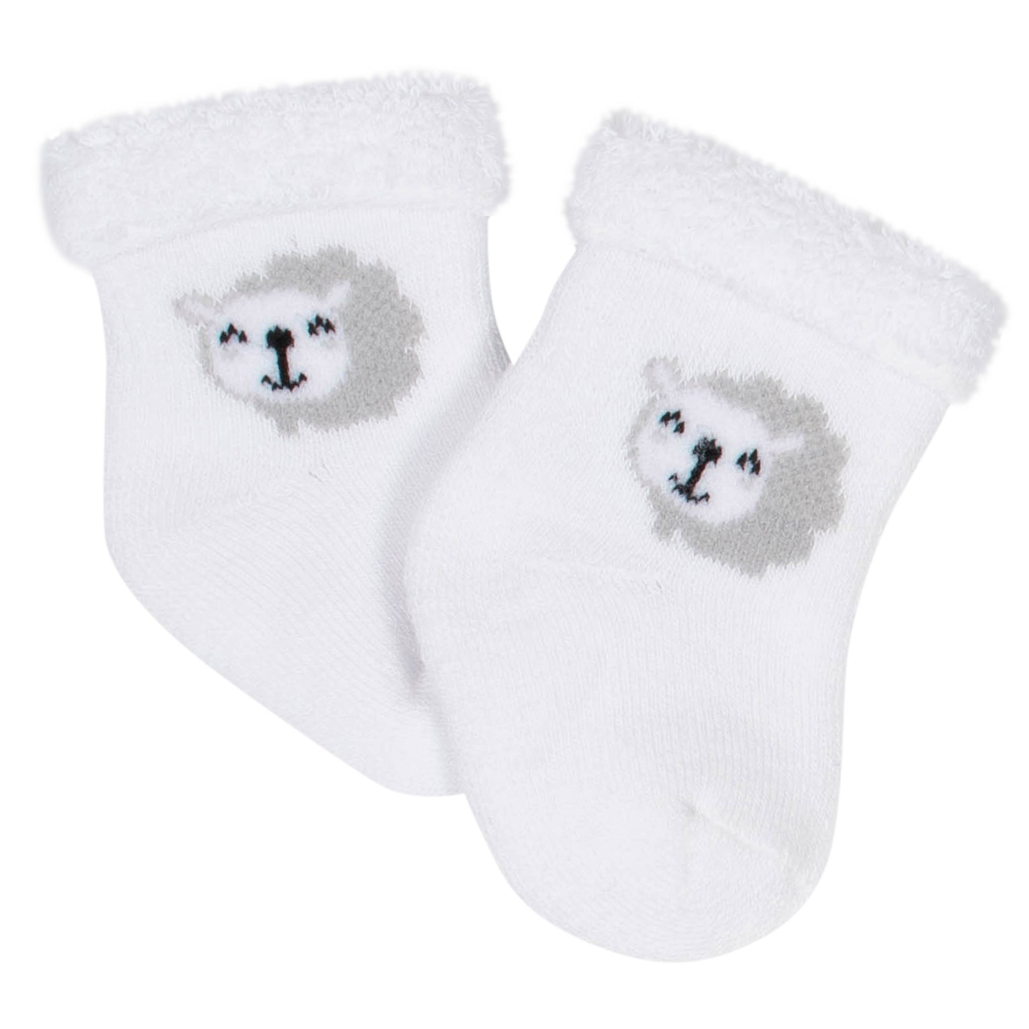 6-Pack Baby Neutral Lamb Wiggle-Proof Terry Bootie Socks-Gerber Childrenswear Wholesale