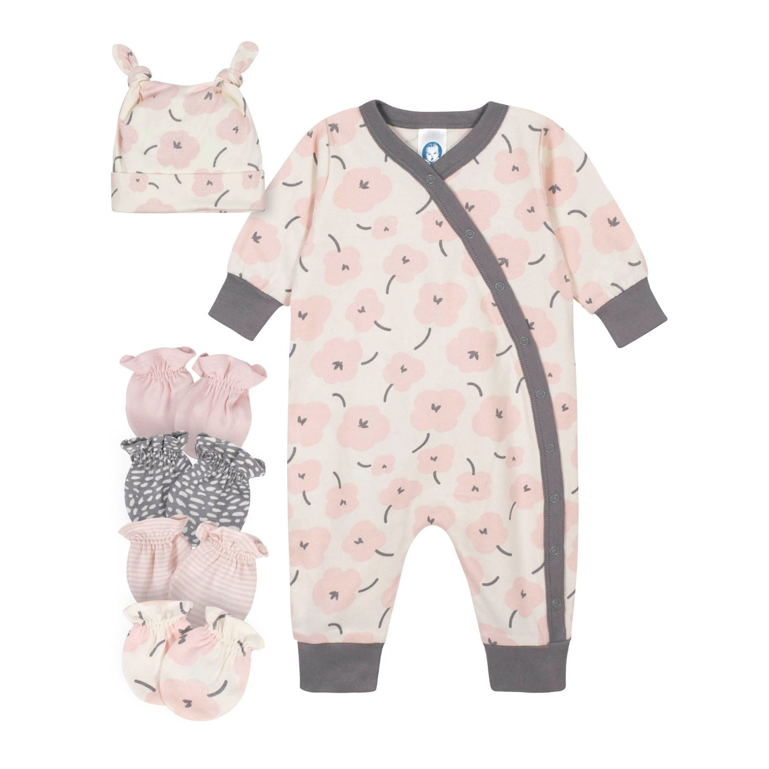 6-Piece Baby Girls Bunny Coveralls and Mittens Gift Set-Gerber Childrenswear Wholesale