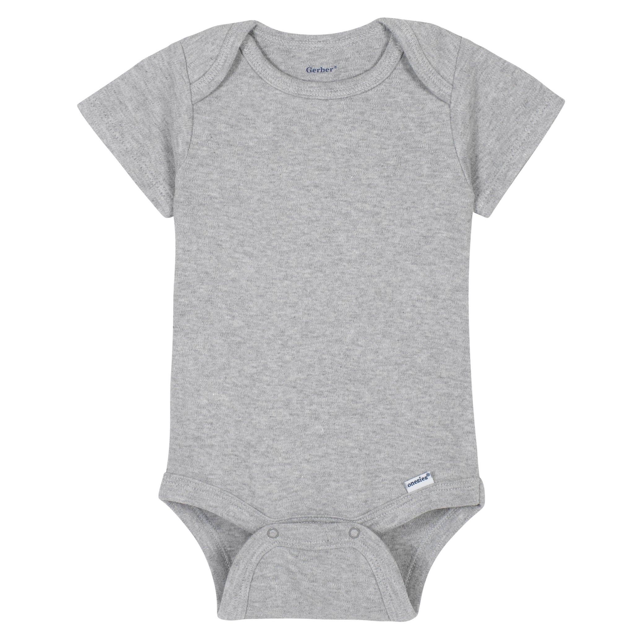 Premium Short Sleeve Onesies® Bodysuit in Light Grey-Gerber Childrenswear Wholesale