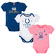 3-Pack Indianapolis Colts Short Sleeve Bodysuits-Gerber Childrenswear Wholesale