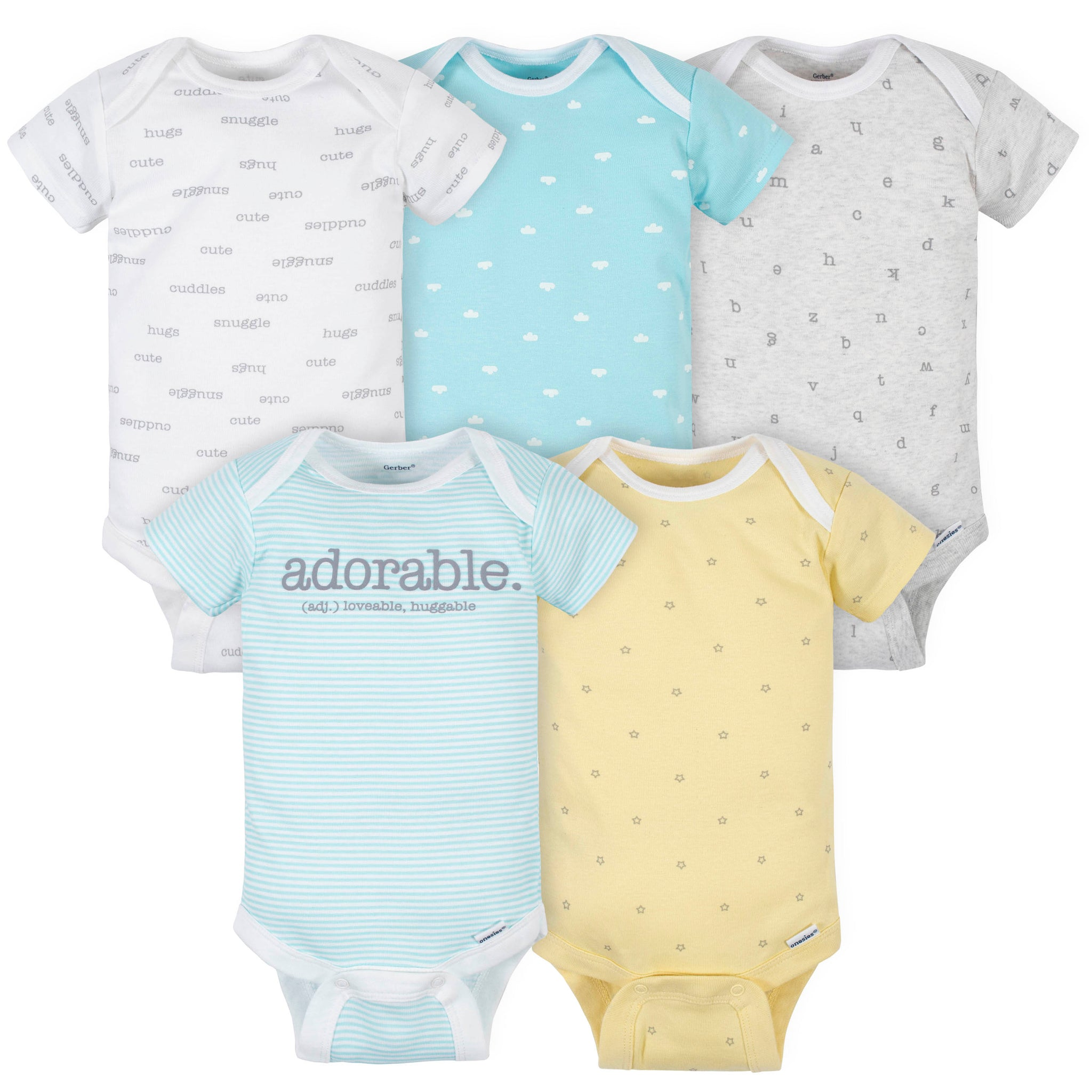 "5-Pack Baby Neutral ""Adorable"" Short Sleeve Onesies® Bodysuits-Gerber Childrenswear Wholesale"