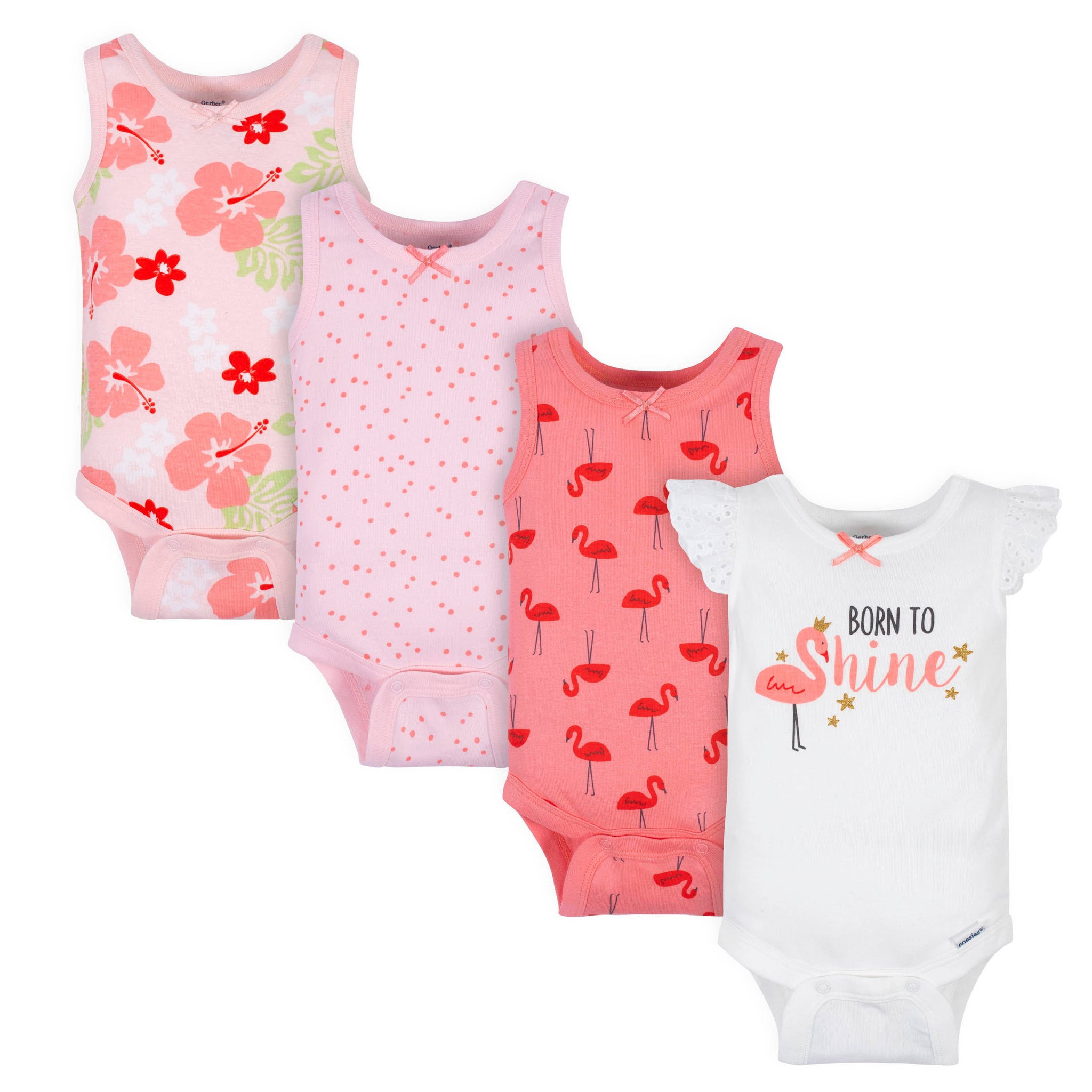 4-Pack Baby Girls Flamingos Onesies® Bodysuits-Gerber Childrenswear Wholesale