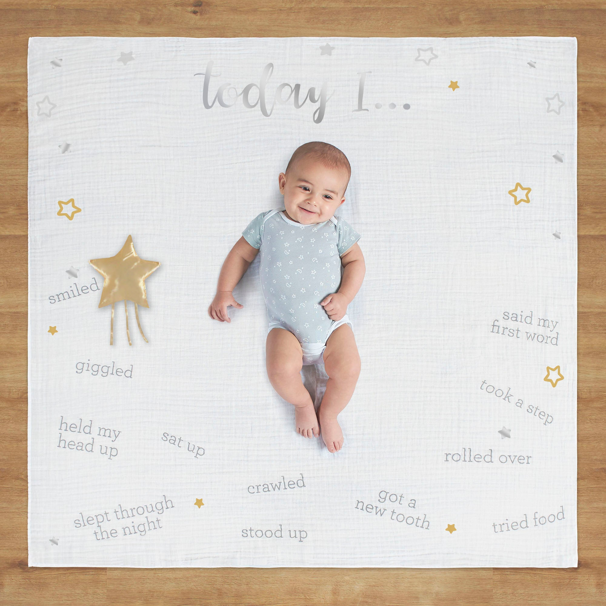 2-Pack Baby Neutral Sparkle Milestone Blanket-Gerber Childrenswear Wholesale
