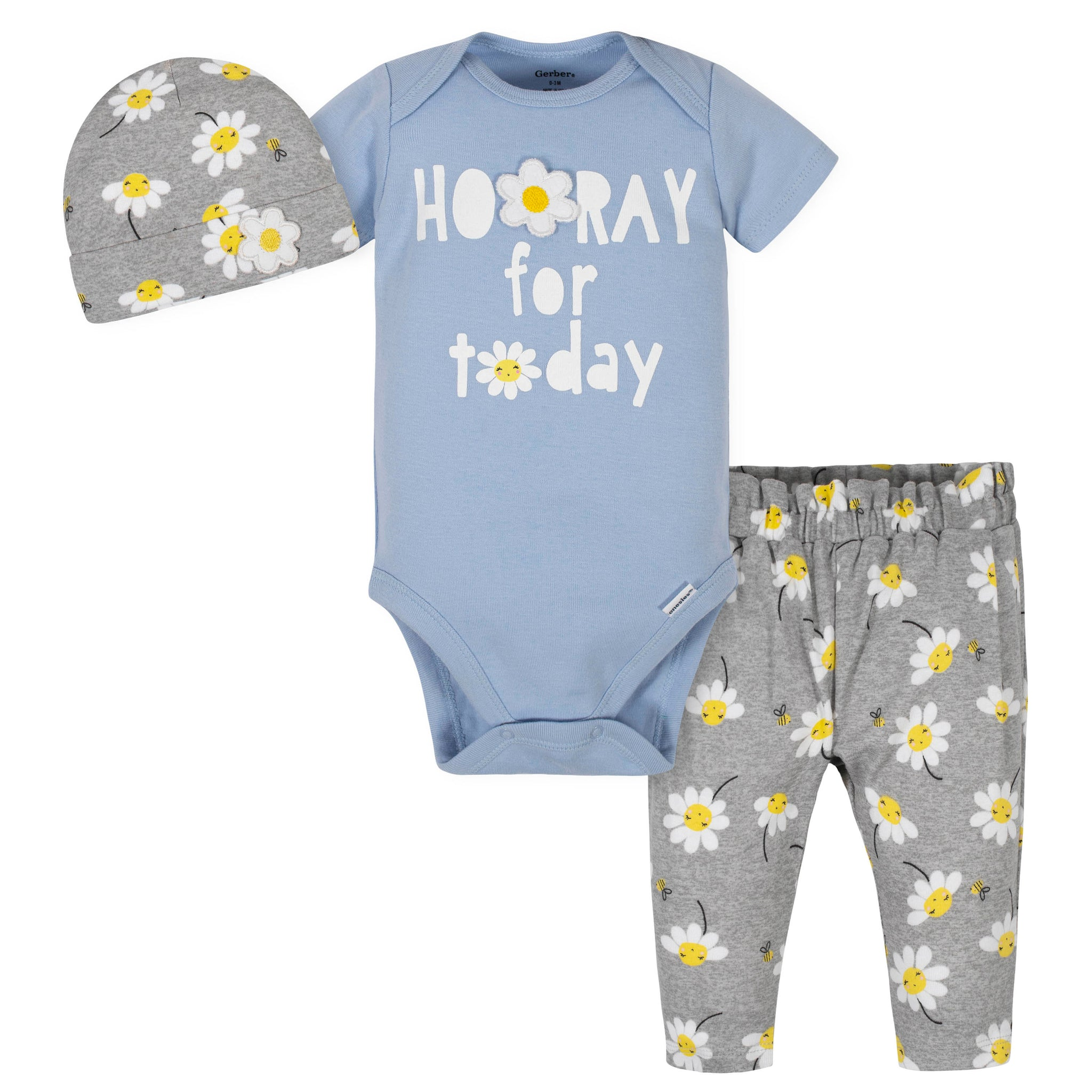 3-Piece Baby Girls Daisies Bodysuit, Pant, and Cap Set-Gerber Childrenswear Wholesale
