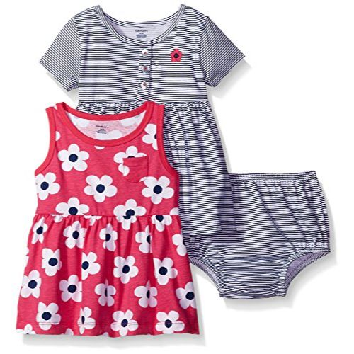 3-Piece Baby Girls Big Flowers Dress and Diaper Cover Set-Gerber Childrenswear Wholesale
