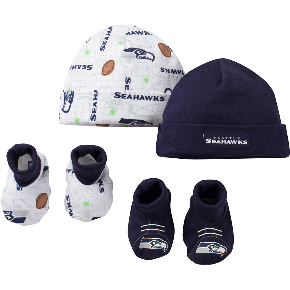 NFL 4-Piece Baby Boys Seahawks Knit Hat and Booties-Gerber Childrenswear Wholesale