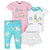 4-Piece Baby Girls Unicorn Onesies® Bodysuit, Skirted Panty, Shirt and Slim Pant Set-Gerber Childrenswear Wholesale