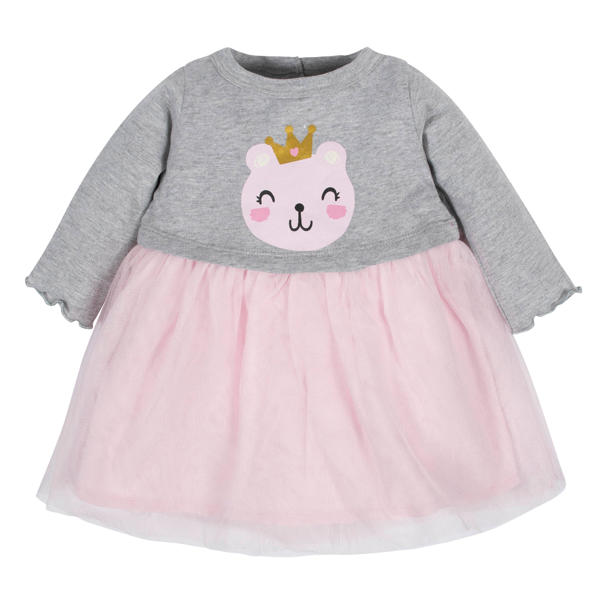 Baby Girls Princess Bear Tulle Dress-Gerber Childrenswear Wholesale