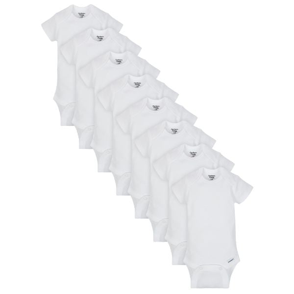 8-Pack Organic White Onesies® Brand Short Sleeve Bodysuits-Gerber Childrenswear Wholesale