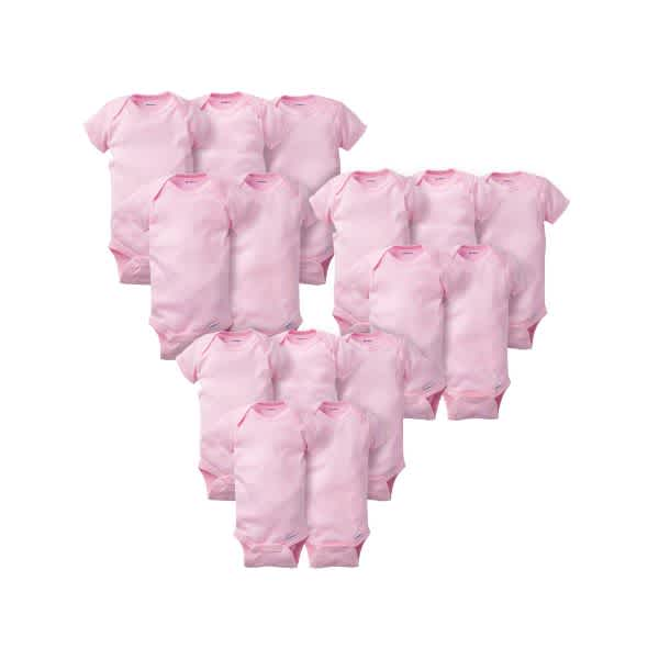 15-Pack Solid Pink Grow-With-Me Onesies® Bodysuits-Gerber Childrenswear Wholesale