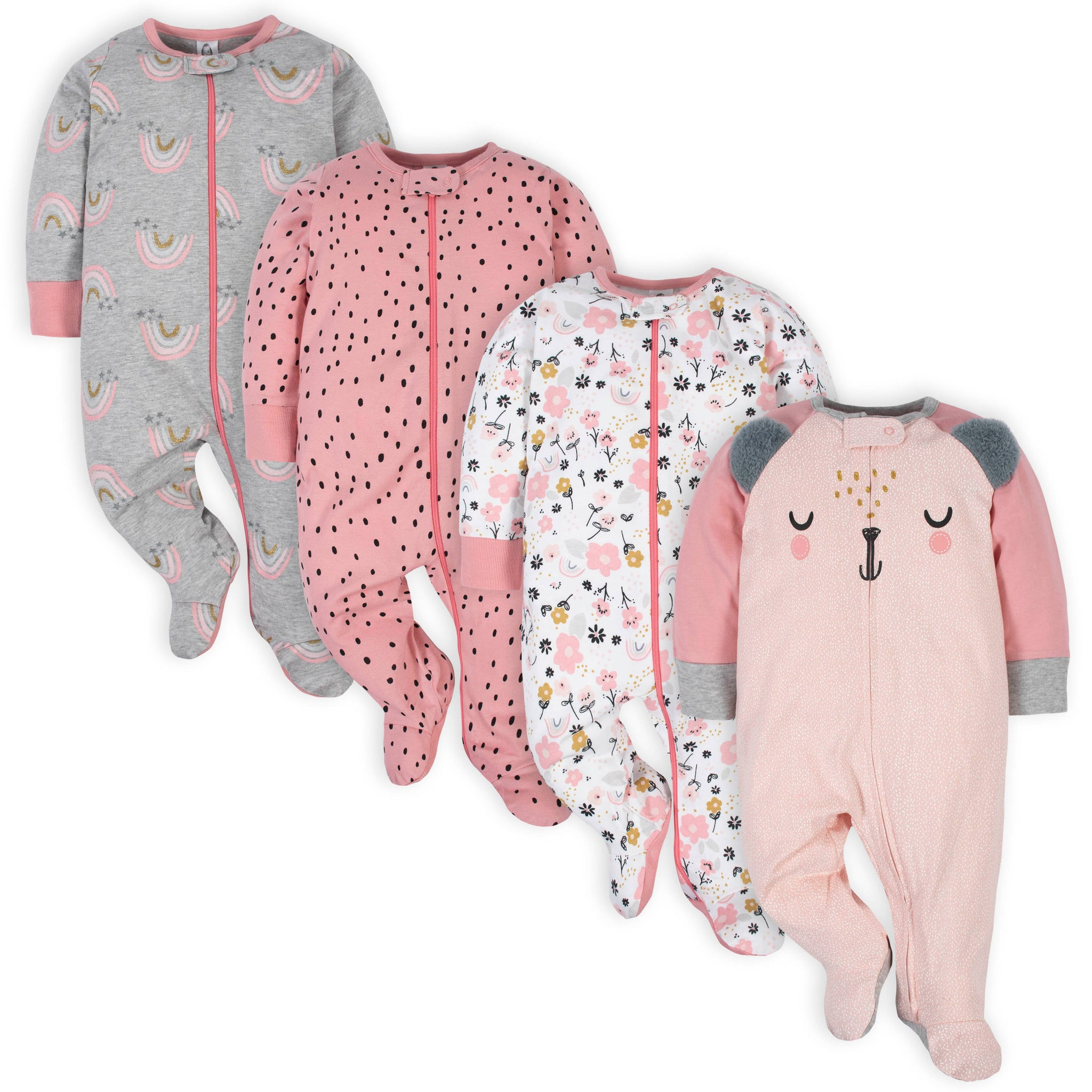 4-Pack Baby Girls Bear Sleep 'N Plays-Gerber Childrenswear Wholesale