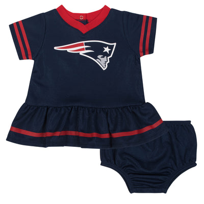 2-Piece New England Patriots Dress and Diaper Cover Set-Gerber Childrenswear Wholesale