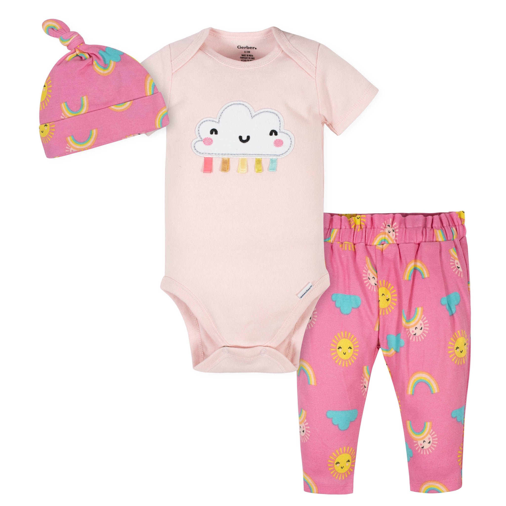 3-Piece Baby Girls Rainbows Bodysuit, Pant, and Cap Set-Gerber Childrenswear Wholesale