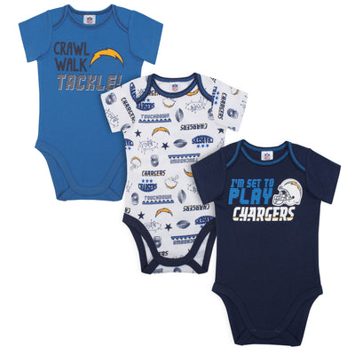 3-Pack Los Angeles Chargers Short Sleeve Bodysuits-Gerber Childrenswear Wholesale