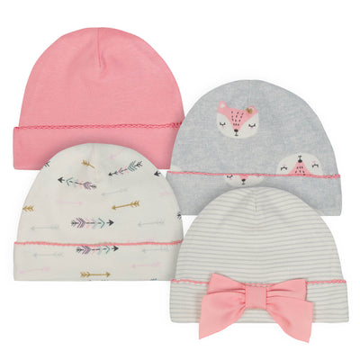 Just Born® 4-Pack Baby Girls Fox Organic Caps-Gerber Childrenswear Wholesale