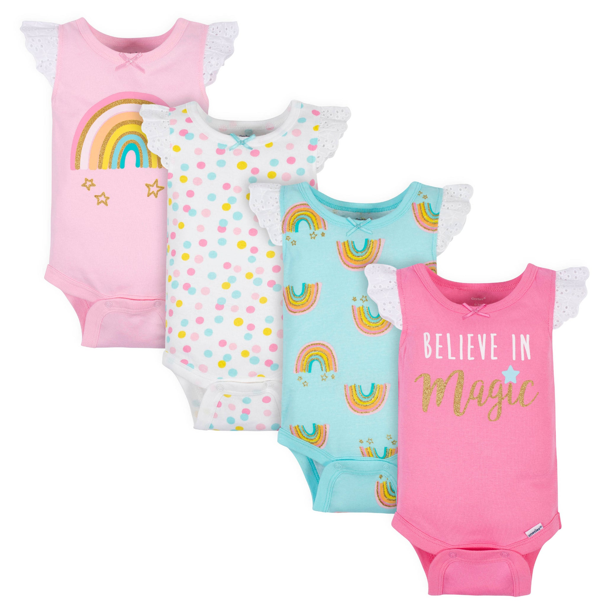 4-Pack Baby Girls Rainbow Onesies® Bodysuits-Gerber Childrenswear Wholesale