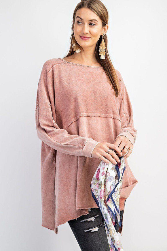 Terry Side Slits Pullover Tunic