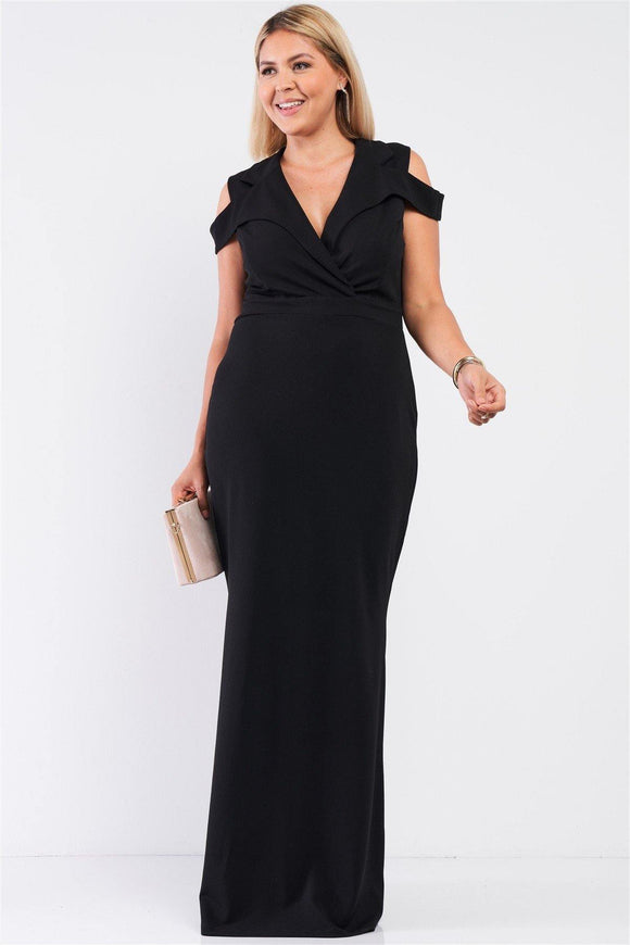 Collared Plunging V-neck Maxi Dress