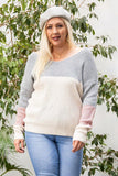 Twisted Back Color Block Sweater - MiaStylez