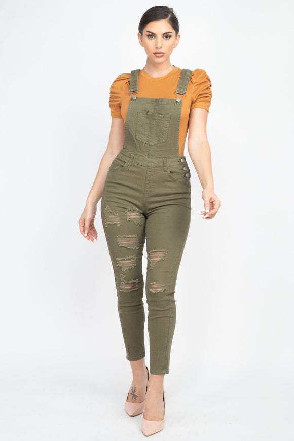 Olive Distressed Denim Overall