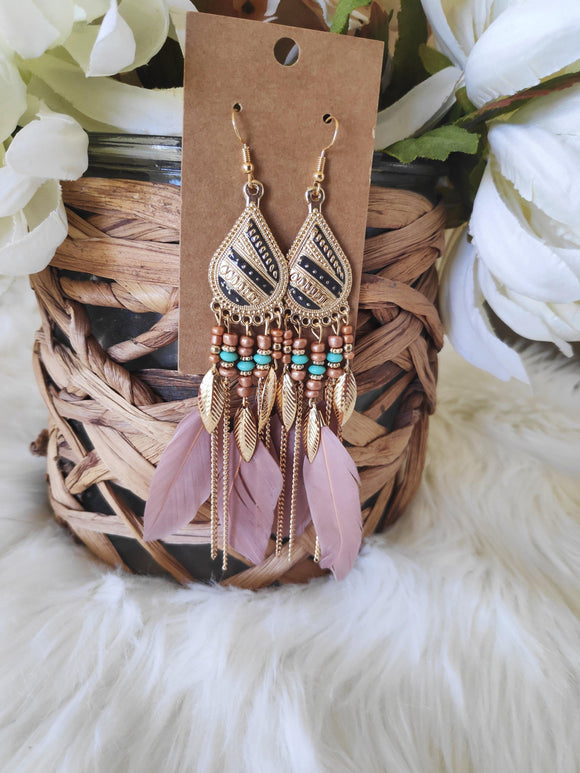 Rose blush boho feather earrings