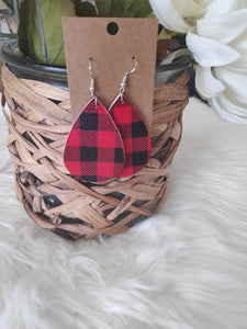 Red Plaid leather earrings