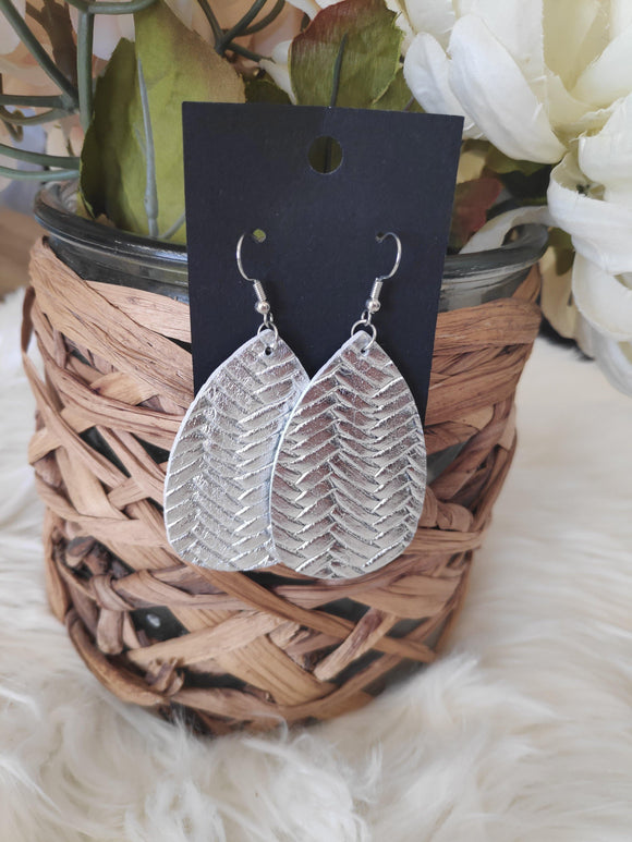 Silver Herringbone leather earrings