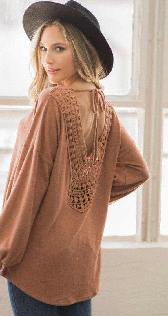 Open back crochet sweater