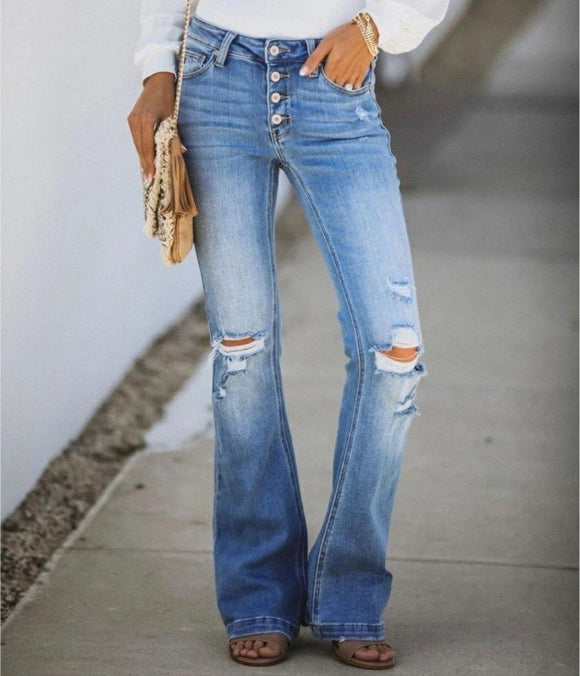KanCan midrise distressed flare jeans